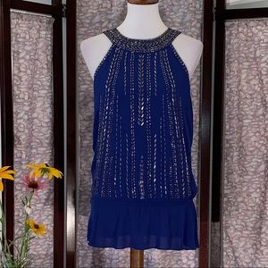 Cache blue and silver beaded tank top.
